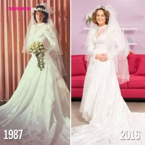 6個女兒穿起媽媽當年結婚時訂製的婚紗,結果發現撐不太起來...媽媽的衣服還是媽媽穿最好看!