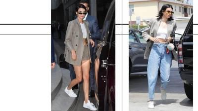 跟 Bella Hadid 穿上女性態度!灰色格紋西裝讓你搶先秋冬大勢