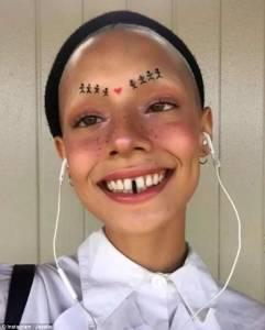 光頭,沒眉毛,大金牙..這個有著特殊外型的妹子,就這麼在時尚圈火了起來...