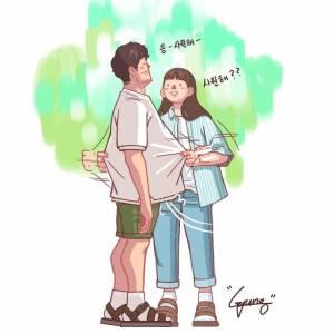 韓國插畫師分享甜蜜情侶日常!每張都像偶像劇情節,看得讓人超想談戀愛~