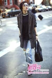 郭采潔時尚街拍 演繹NY上東區混搭風格