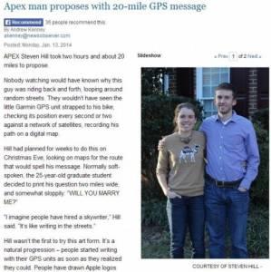 女子與男友跑步GPS路線顯示「你願嫁給我嗎」