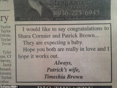 真的假的? 大老婆的反擊原配登報「祝賀」小三懷孕