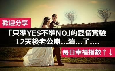 新婚夫婦「只準YES不準NO」的愛情實驗 12天後老公崩...潰...了....