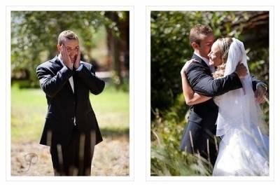 當新郎看到新娘換上婚紗的瞬間....