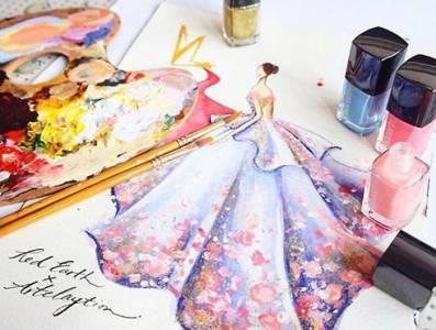 「指甲油」不只是美甲? 22件用指甲油畫出美麗驚豔的「晚禮服」!